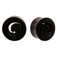 PAIR | Carved Rings Black Areng Wood Organic Tunnel Plugs #2