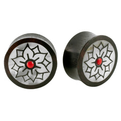PAIR | Organic Black Wood Mother Of Pearl Earlets Plugs Double Flared