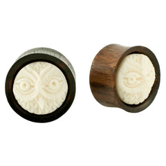 PAIR | Organic Black Wood Bone Owl Inlay Carving Earlets Plugs