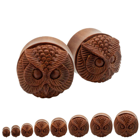 PAIR | Sono Wood Carved Owl Face Double Flare Saddle Plugs