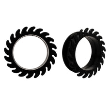 Black Saw Blade Flexible Earlets Silicone Ear Flexi Plugs