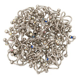 LOT OF 100 | Generic | 14g Double Jeweled Steel Twister Belly Navel Rings | Mixed | 14G
