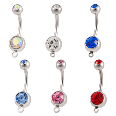Double Jeweled Add a Charm Jeweled Navel Ring