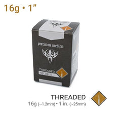 "16g Threaded Sterilized 1"" Precision Piercing Needles - Box of 100"