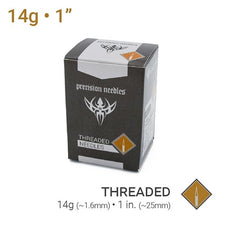 "14g Threaded Sterilized 1"" Precision Piercing Needles - Box of 100"
