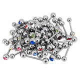 50 Assorted 14G Single Jeweled Tongue 6mm Straight Barbell