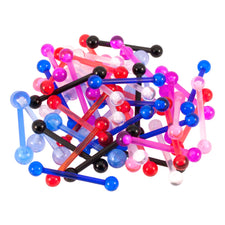 LOT Of 50 Assorted Flexible Acrylic Barbells 14g