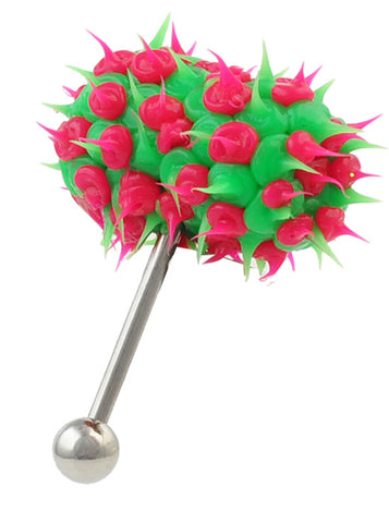 Green & Pink Koosh Vibrating Tongue Piercing Vibe Bell