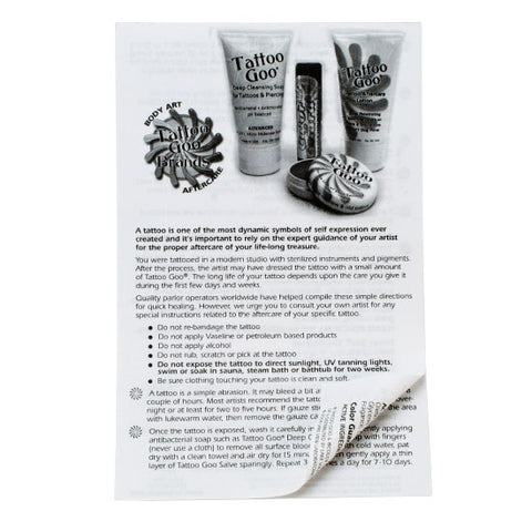 Tattoo Goo Tattoo Aftercare Sheets 50 Count