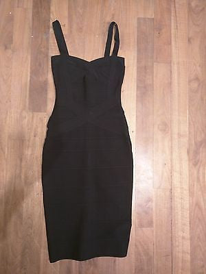 Calf Length Black Spaghetti Strap Bandage Dress Bodycon M Medium 4 6