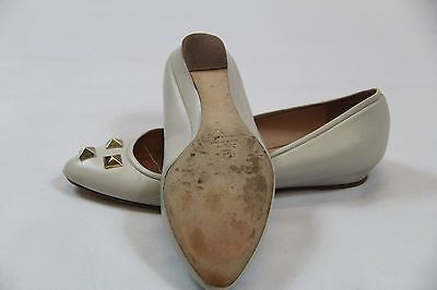 Comfy Cream Leather Loeffler Randall Studded Flats Size 10