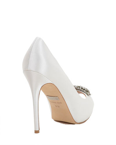 Badgley Mischka Jeannie Embellished Peep Toe Crystal Satin Pump Heels Sz 9.5 in Ivory