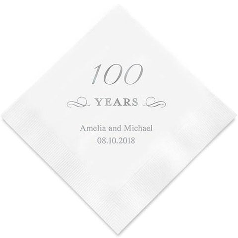 100 Years Printed Paper Personalized Napkins-Jubilee Favors