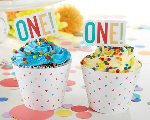 1st Birthday Cupcake Kit Toppers and Wrappers-Jubilee Favors