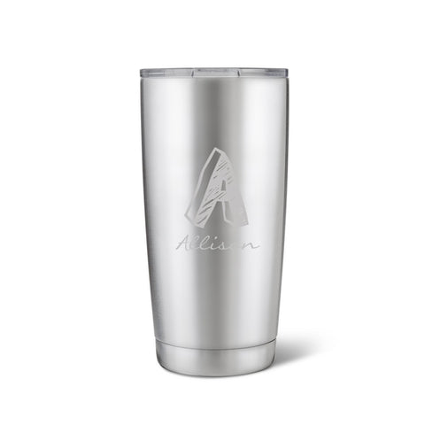 20 oz. Stainless Steel Brushed Initial Mug-Jubilee Favors