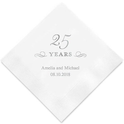 25 Years Printed Paper Napkins-Jubilee Favors
