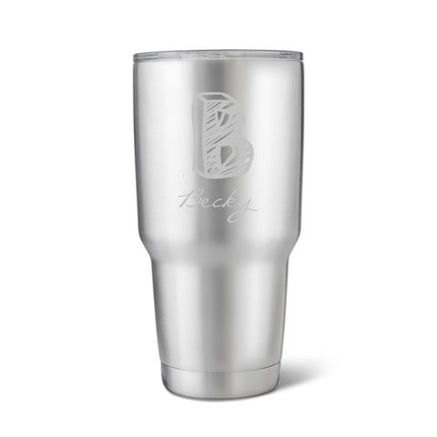 30 oz. Stainless Steel Brushed Initial Mug-Jubilee Favors