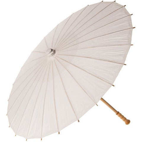 32 Inch Small Premium Paper Parasol - Whites-Jubilee Favors