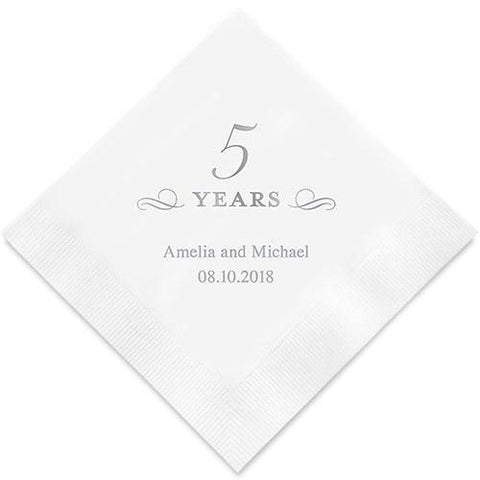 5 Years Printed Paper Napkins-Jubilee Favors
