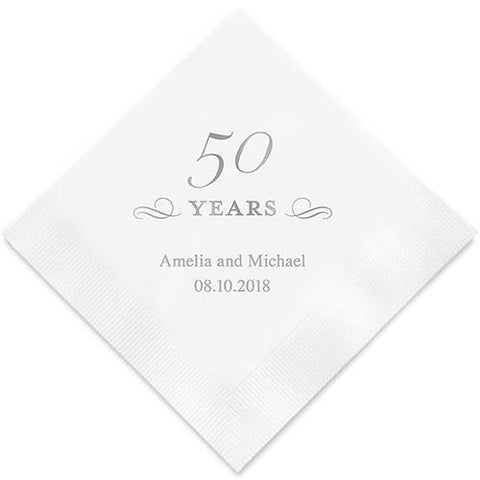 50 Years Printed Paper Napkins-Jubilee Favors