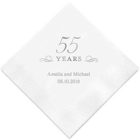 55 Years Printed Paper Napkins-Jubilee Favors