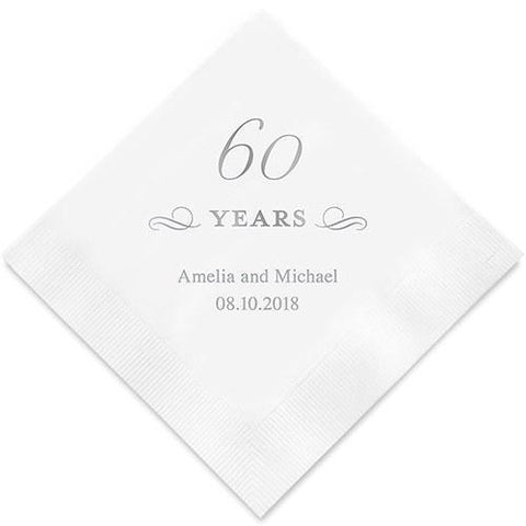60 Years Printed Paper Napkins-Jubilee Favors
