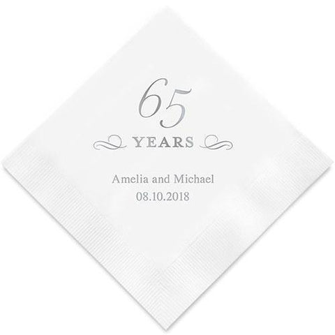 65 Years Printed Paper Napkins-Jubilee Favors