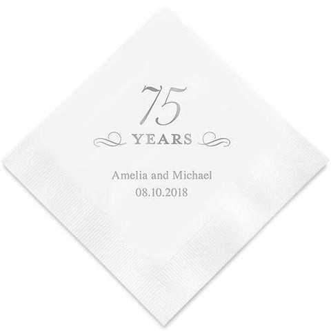 75 Years Printed Paper Napkins-Jubilee Favors