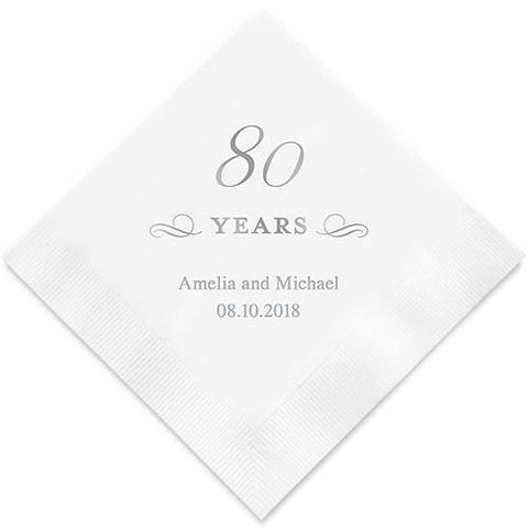 80 Years Printed Paper Napkins-Jubilee Favors