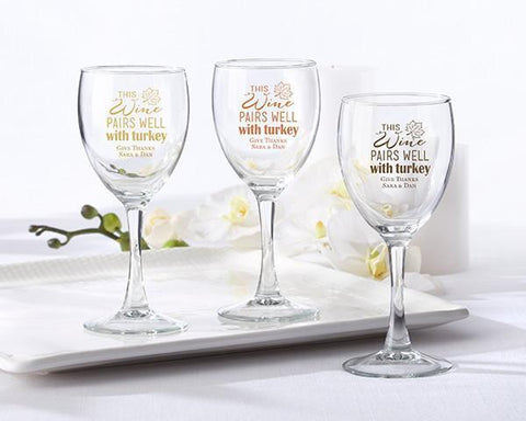 8.5 oz. Wine Glass - Pairs Well With Turkey (Set of 36)-Jubilee Favors