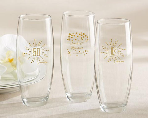 9 oz. Stemless Champagne Glass - Milestone Gold (set of 36)-Jubilee Favors