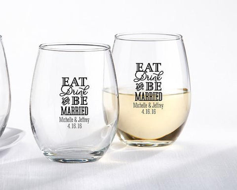 9 oz. Stemless Wine Glass - Eat, Drink & Be Married (Set of 36)-Jubilee Favors