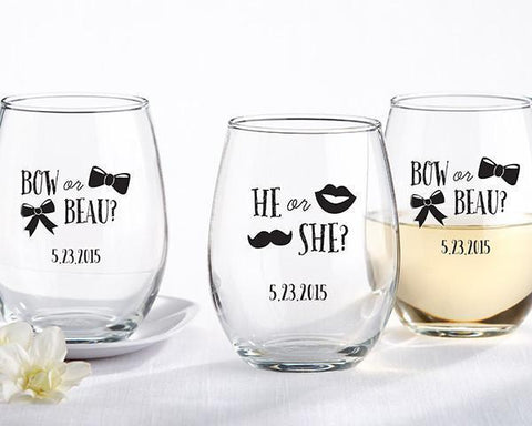 9 oz. Stemless Wine Glass - Gender Reveal Collection-Jubilee Favors