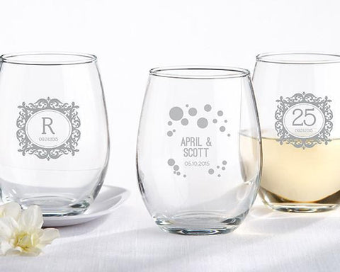9 oz. Stemless Wine Glass - Milestone Silver (set of 36)-Jubilee Favors