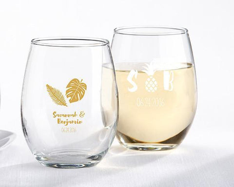 9 oz. Stemless Wine Glass - Pineapples and Palms (Set of 36)-Jubilee Favors