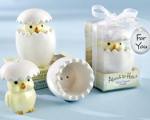 """About to Hatch"" Ceramic Baby Chick Salt & Pepper Shakers-Jubilee Favors"