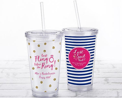 Acrylic Tumbler With Personalized Insert - Bachelorette-Jubilee Favors