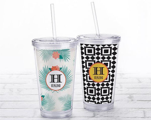 Acrylic Tumbler With Personalized Insert - Tropical Chic-Jubilee Favors