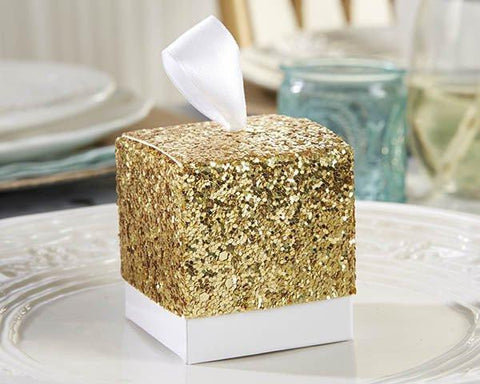 """All That Glitters"" Gold Glitter Favor Box (Set of 24)-Jubilee Favors"