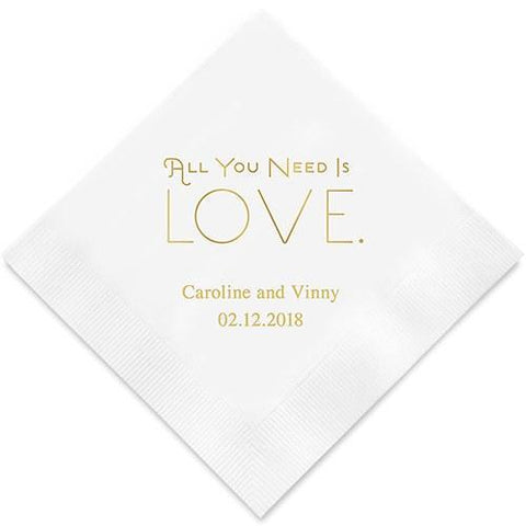 All You Need Is Love Printed Paper Napkins-Jubilee Favors