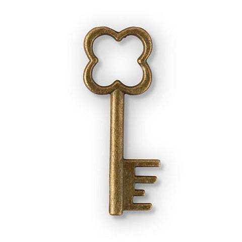 Antique Key Charm Style 1 - Clover (Set of 12)-Jubilee Favors