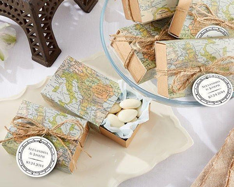 """Around the World"" Map Favor Box (Set of 24)-Jubilee Favors"