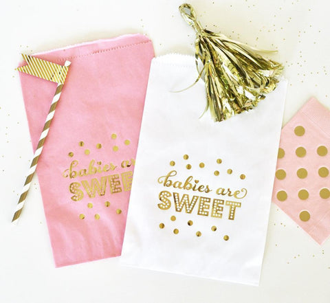 """Babies are Sweet"" Gold Foil Candy Buffet Bags (set of 12)-Jubilee Favors"