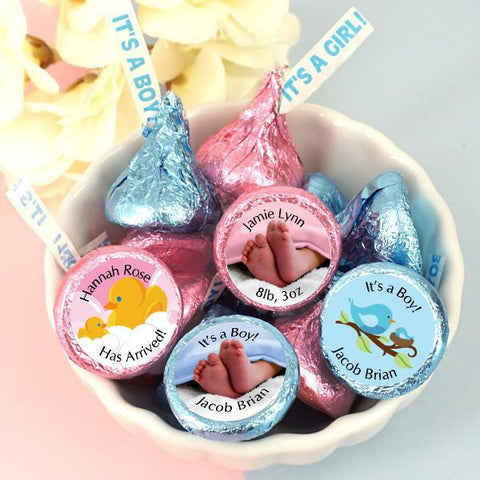 "Baby ""It's A Girl/Boy"" Plume Hershey's Kisses (Set of 100)-Jubilee Favors"