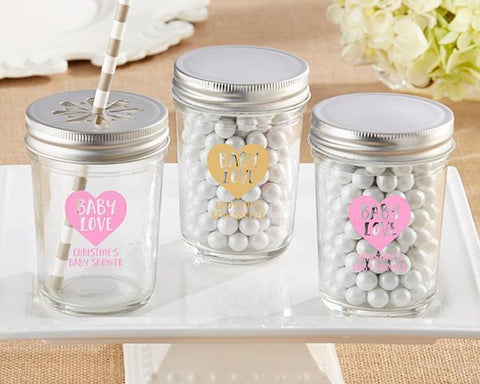 Baby Love - Personalized Printed Mason Jar (Set of 12)-Jubilee Favors
