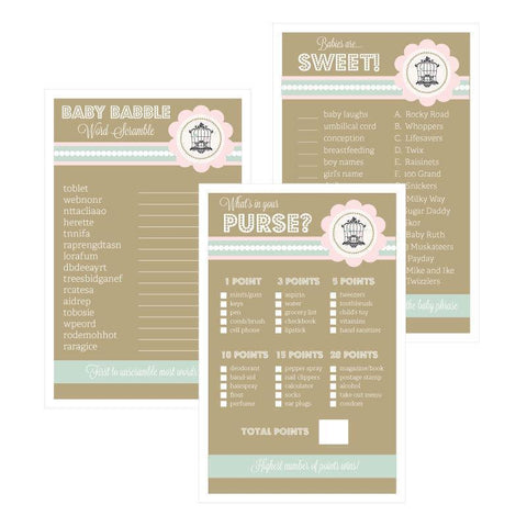 Baby Shower Games (Set of 10) - Birdcage-Jubilee Favors