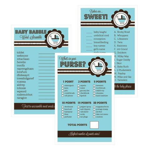 Baby Shower Games (Set of 10) - Blue Baby Shower-Jubilee Favors