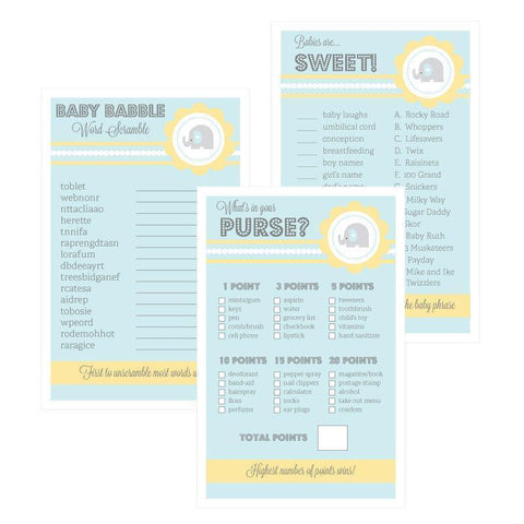 Baby Shower Games (Set of 10) - Blue Elephant-Jubilee Favors