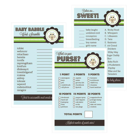 Baby Shower Games (Set of 10) - Blue Owl-Jubilee Favors