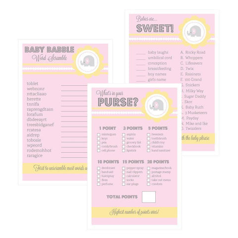 Baby Shower Games (Set of 10) - Pink Elephant-Jubilee Favors